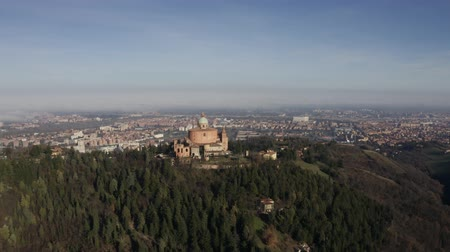 bolognai : Sanctuary of the Madonna di San Luca basilica, aerial view. Bologna, Italy