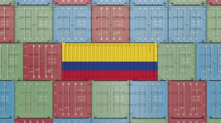 hurtownia : Cargo container with flag of Colombia. Colombian import or export related 3D animation