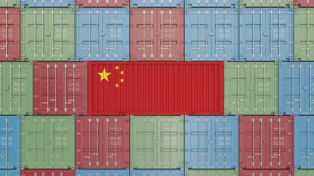 hurtownia : Cargo container with flag of China. Chinese import or export related 3D animation Wideo