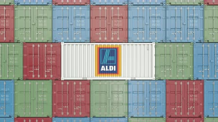 forwarding : Aldi corporate logo on an industrial container. Editorial animation
