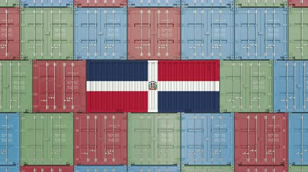 hurtownia : Cargo container with flag of Dominican Republic. Import or export related 3D animation