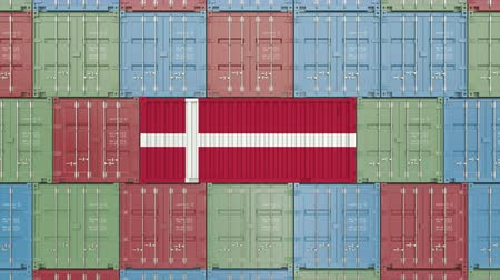 デンマーク語 : Cargo container with flag of Denmark. Danish import or export related 3D animation
