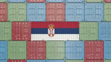 sérvia : Container with flag of Serbia. Serbian import or export related 3D animation Vídeos