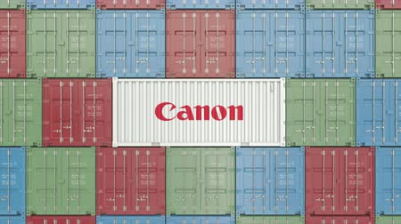 canon : Container with Canon corporate logo. Editorial 3D animation Stock Footage