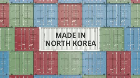 dprk : Cargo container with MADE IN NORTH KOREA text. Korean import or export related 3D animation Stock Footage