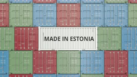 estonya : Container with MADE IN ESTONIA text. Estonian import or export related 3D animation