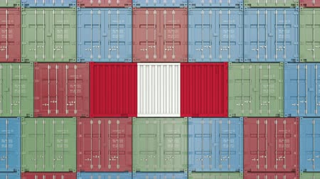 hurtownia : Container with flag of Peru. Peruvian import or export related 3D animation Wideo