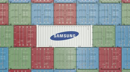 comerciante : Container with Samsung corporate logo. Editorial 3D animation