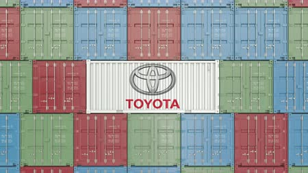 product of : Container with Toyota corporate logo. Editorial 3D animation