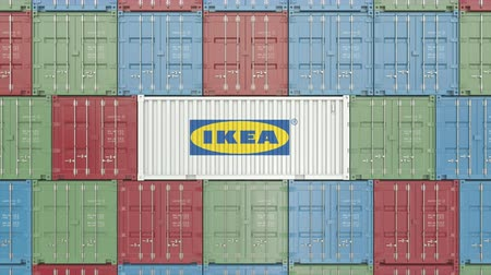 ikea : Container with Ikea corporate logo. Editorial 3D animation