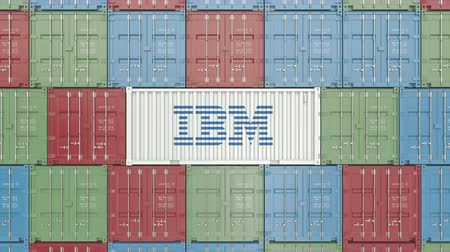 forwarding : Container with IBM corporate logo. Editorial 3D animation
