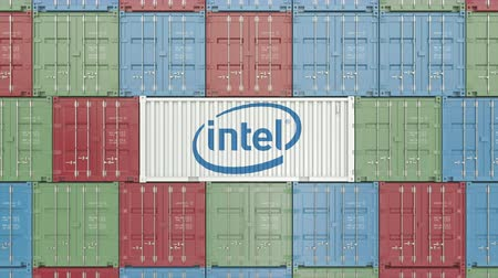 intel : Container with Intel corporate logo. Editorial 3D animation Stock Footage