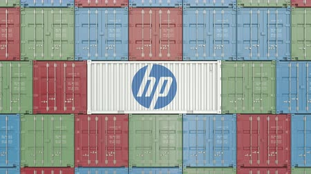 szállító : Container with HP corporate logo. Editorial 3D animation