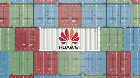 szállító : Container with Huawei corporate logo. Editorial 3D animation Stock mozgókép