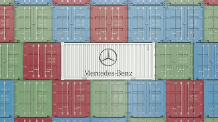 comerciante : Container with Mercedes-Benz corporate logo. Editorial 3D animation