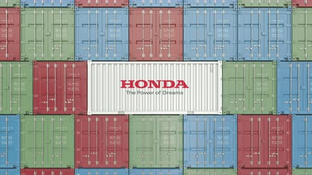 forwarding : Container with Honda corporate logo. Editorial 3D animation