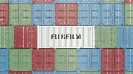 shipping : Container with Fujifilm corporate logo. Editorial 3D animation