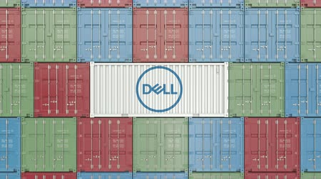 prodejce : Container with Dell corporate logo. Editorial 3D animation Dostupné videozáznamy