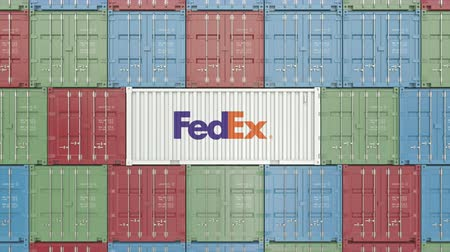 embarques : Contenedor con logo corporativo de FedEx. Animación editorial 3D