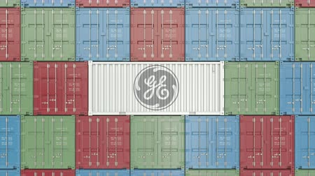 general electric : Container with General Electric corporate logo. Editorial 3D animation Stock Footage