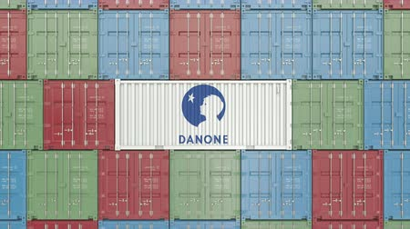 prodejce : Container with Danone corporate logo. Editorial 3D animation