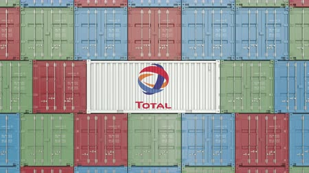 prodejce : Container with Total S.A. corporate logo. Editorial 3D animation