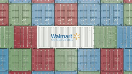 prodejce : Container with Walmart corporate logo. Editorial 3D animation Dostupné videozáznamy