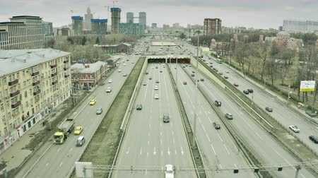 rapid transit : Aerial view of Leningradsky Prospekt, a major avenue in Moscow, Russia