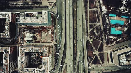 congested : Aerial top down view of a big city road interchange