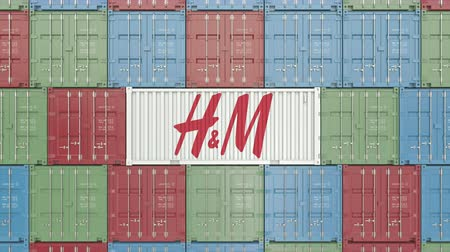 sziám : Container with H&M corporate logo. Editorial 3D animation