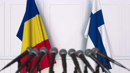 press conference : Flags of Romania and Finland at international meeting or negotiations press conference. 3D animation Stock Footage