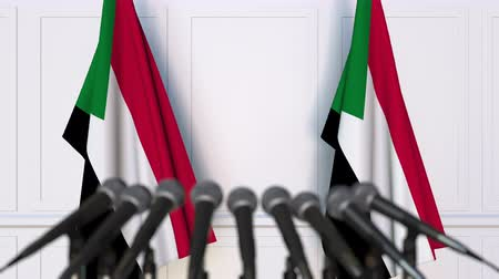 treaty : Sudanese official press conference with flags of Sudan. 3D animation Stock Footage