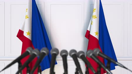 dekking : Official press conference with flags of Philippines. 3D animation Stockvideo