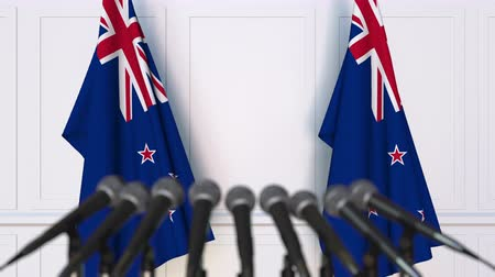 nowa zelandia : Official press conference with flags of New Zealand. 3D animation