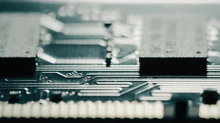 circuitry : RAM or random access memory chipset, macro dolly. Shot or Red camera Stock Footage