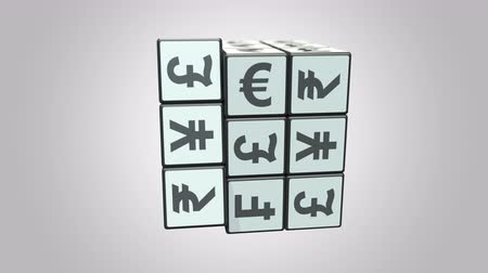 eur : Solving cube from dollar to euro signs. Forex related conceptual 3D animation