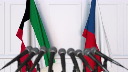 čeština : Flags of Kuwait and the Czech Republic at international meeting or negotiations press conference. 3D animation