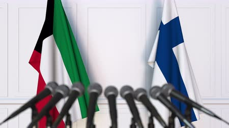 утверждение : Flags of Kuwait and Finland at international meeting or negotiations press conference. 3D animation