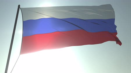 üç renkli : Waving flag of Russia against shining sun and sky. Realistic loopable 3D animation