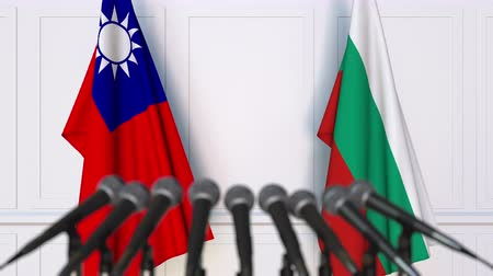 búlgaro : Flags of Taiwan and Bulgaria at international meeting or negotiations press conference. 3D animation