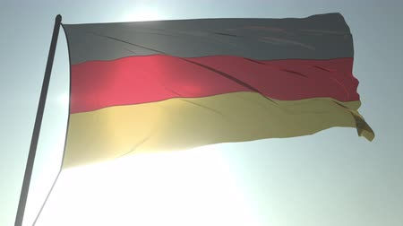 trikolóra : Waving flag of Germany against shining sun and sky. Realistic loopable 3D animation Dostupné videozáznamy