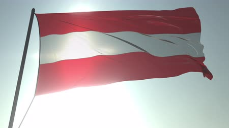 üç renkli : Waving flag of Austria against shining sun and sky. Realistic loopable 3D animation