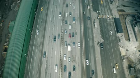 multiple lane : Aerial view of the beginning of a city road traffic jam in a business district