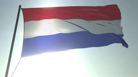 üç renkli : Waving flag of the Netherlands against shining sun and sky. Realistic loopable 3D animation
