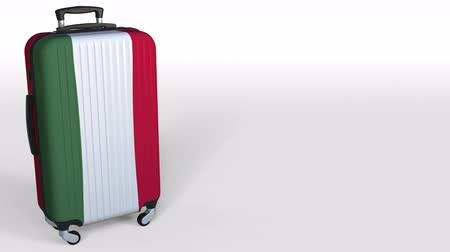 キャプション : Travelers suitcase with flag of Hungary. Hungarian tourism conceptual 3D animation, blank space for caption
