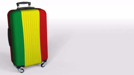 bavul : Travelers suitcase with flag of Bolivia. Bolivian tourism conceptual 3D animation, blank space for caption