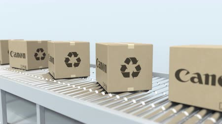 reciclado : CANON logo on moving boxes on roller conveyor. Loopable editorial 3D animation