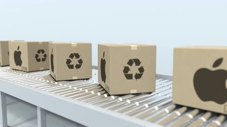 ithalat : Many cartons with APPLE INC logo move on roller conveyor. Loopable editorial 3D animation