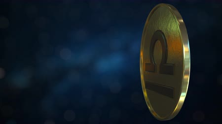 terazi burcu : Gold token with Libra Zodiac sign. Loopable motion background Stok Video