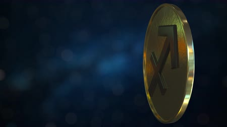 strzelec : Gold token with Sagittarius Zodiac sign. Loopable motion background Wideo